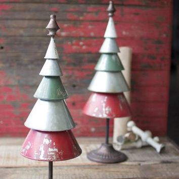 Set Of 2 Galvanized Red & Green Metal Trees