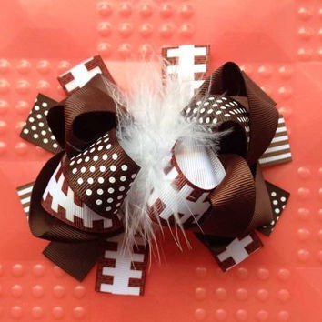 "Girls Over the Top Ribbon Hairbow, 5.5"" Hairbow, Baby Girls Boutique OTT Football Headband, Feather Boa Center, Sports Headband"