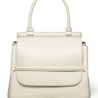THE ROW Grained Top-Handle Medium Satchel Bag, White