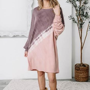 Purple & Blush Tie-Dye Tunic Dress