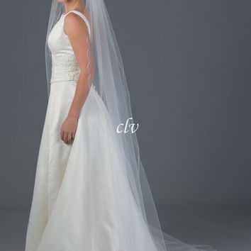 'Zoe' Chapel Length Veil with Bugle Beads, Rhinestones and Crystal Accents
