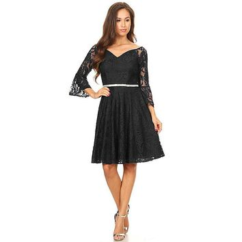 Lace V-Neck Wedding Guest Dress with Bell Sleeves Black
