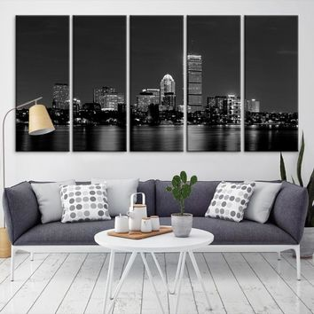 80613 - Boston City Decorative Wall Art Canvas Print - Boston Skyline, Boston, Boston Canvas, Boston Wall Art, Canvas Print, Boston Print, Wall Art,