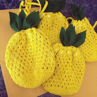 Pineapple bag Cross-body Bag Pineapple Crochet Bag Beach bag Yellow Summer bag Hippie Cross body Purse Pineapple, Beach, Summer Purse