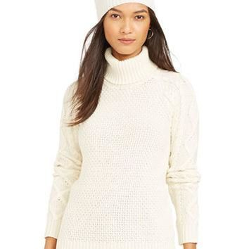 Lauren Ralph Lauren Cable-Sleeved Turtleneck Sweater