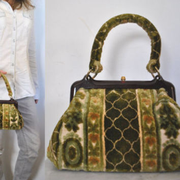 1960s Carpet Bag / Green Chenille Purse / tote