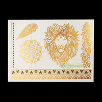 1PC Hot Flash Metallic Waterproof Temporary Tattoo Gold Silver Men Women Henna GH-21 Lion Feather Braclet Design Tattoo Sticker