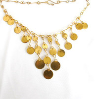 Gold festival bib, ethnic coin neck piece, modern tribal necklace, belly dancing jewelry