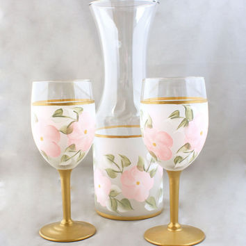 Pink and Gold Frosted Carafe and Wine Glasses