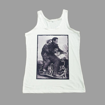 James Dean Marilyn Monroe Shirt Tank Top T-Shirt Women White Shirts Sleeveless TShirts Size S M L