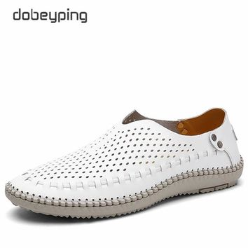 2017 Men's Casual Shoes Real Leather Boat Shoe Slip On Driving Shoes Man Hollow Out Male Flats Breathable Sumemr Loafers 38-46