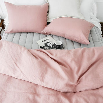 Washed Old Rose Linen Soft Twin / Queen Size Bedding Set