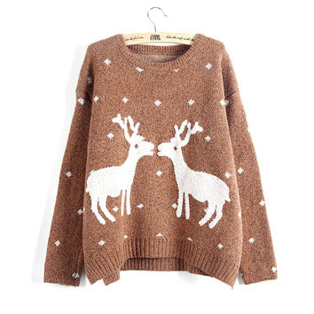 Women Reindeer Sweater Deer Thicken Pullovers Lady Knitted Cotton Sweaters SM6