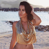 2016 New Style Sexy Cropped Tops Chic Metal Gold Bralette Top Camis Dropped V Spaghetti Strap Ladies Vest Short Clothes