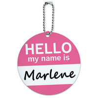 Marlene Hello My Name Is Round ID Card Luggage Tag
