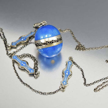 Sterling Silver Art Deco Enamel Vinaigrette Necklace