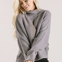 Mina Grey Knit Turtleneck Sweater