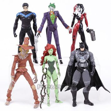 Batman Dark Knight gift Christmas DC COMICS Batman The Joker Harley Quinn Nightwing Poison Ivy Scarecrow PVC Action Figures Toys 6pcs/set AT_71_6