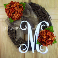 Spring wreath - summer wreath -orange hydrangea wreath - mothers day -  rustic wreaths