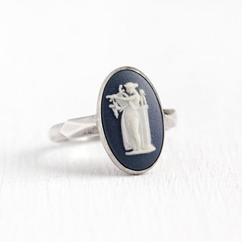 Vintage Wedgwood Ring - Sterling Silver Erato Blue Cameo Statement - Retro Size 7 1/4 Oval Jasperware Greek Muse with Lyre Mythology Jewelry