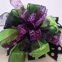Black Green Purple Halloween Wreath Bow Black Purple Green Halloween Wreath Door Hanger Bow Halloween Wedding Decor Bow