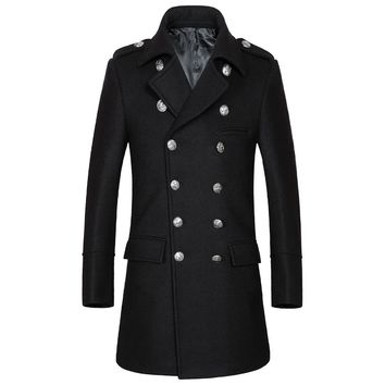 men's wool winter coat men double breasted long sleeve turn down collar windbreaker slim woolen trench coats outerwear 2017 new