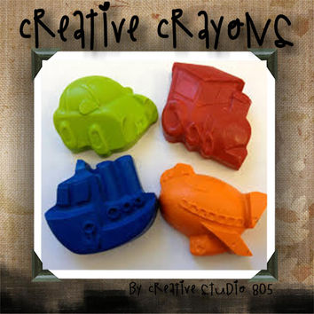 TRANSPORTATION - shaped crayons - birthday party favors - baby shower favors - christmas stocking stuffers