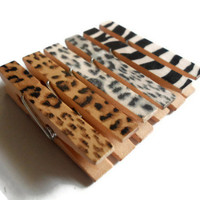 Mini Clothespin Magnets Animal Prints Set of 6 Magnet Clips