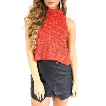 Who We Are Red Turtleneck Crop