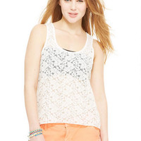 Lace Racerback High-Low Tank - Ivory