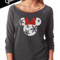GLITTER Disney Christmas Holiday Snowflake Minnie Lightweight Sweatshirt - (6951 charcoal terry) - red / white glitter
