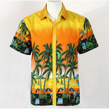 Hot Men Aloha Shirt Hawaiian Cruise Tropical Luau Beach Hawaiian Party Palm Gradient orange L normal version