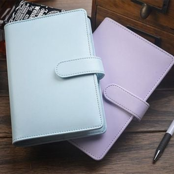 Business Traveler's Notebook Leather diary  looes leaf journal A6 Cute Kawaii Note book Planner Notepad BK09