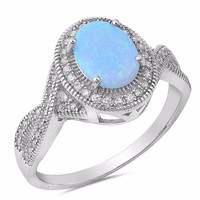 Sterling Silver CZ Lab Light Blue Opal Simulated Diamond Oval Halo Ring