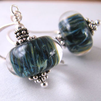 Cyber Monday Etsy lampwork glass earrings dark by shadowjewels