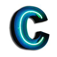 Vintage Marquee Lights: Neon C Turquoise, at 38% off!