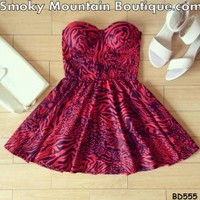 Scarlett Multi-Color Bustier Dress with Adjustable Straps - Size XS/S/M BD 555 - Smoky Mountain Boutique