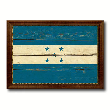 Honduras Country Flag Vintage Canvas Print with Brown Picture Frame Home Decor Gifts Wall Art Decoration Artwork