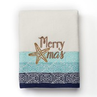 St. Nicholas Square Coastal Christmas Hand Towel (White)