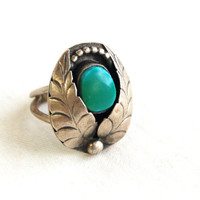 Turquoise Ring Native American Leaf Wings Sterling Silver Size 5 Vintage Signed Southwestern Jewelry