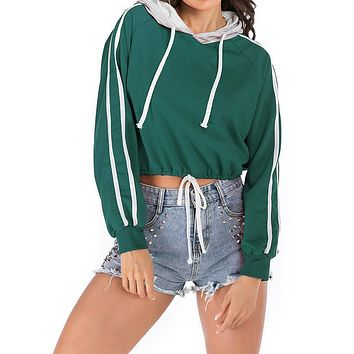Hoodie Women's Drawstring Lace Up Striped Side Crop