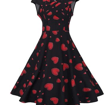 Streetstyle  Casual V-Neck Designed Heart Printed Skater Dress