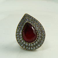 Ruby and White Topaz Turkish Sterling Silver Ring