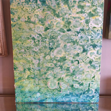 Acrylic Painting, Original Painting, Abstract Art, Silver Leaf, Abstract Painting, 16x20 Canvas Panel, Silver Teal Yellow Green Blue Art