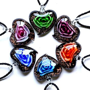 Handmade Heart Shaped  Murano Glass Flower Necklace in 6 Colors
