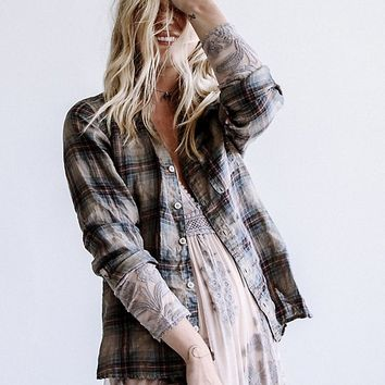 Free People Plaid Linen Shirt