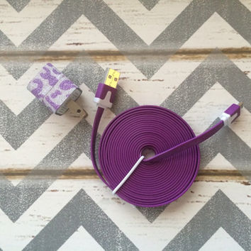 New Super Cute Purple & Silver Glitter Cheetah Print USB Wall Connector + 10ft Flat Purple Samsung Galaxy S2, S3, S4 Cable Cord