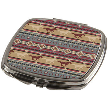 Southwestern Wild Horses Pattern Compact