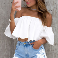 Posie Off The Shoulder Ruffle Crop Top - White