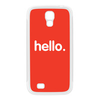 Hello White Silicon Rubber Case for Galaxy S4 by textGuy